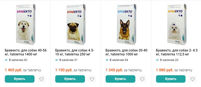 Цена Бравекто для собак