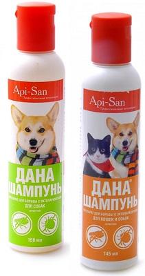 Шампунь от блох и клещей для собак Апи сан Дана