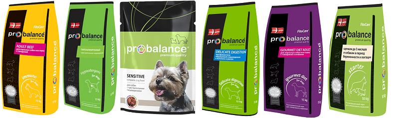 Линейка кормов Пробаланс для собак
