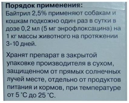 Инструкция по применению Байтрила для собак